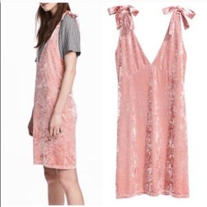 Crushed Velvet Blush Pink Plunge Tie Dress! NWT!